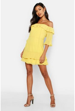 Womens Yellow Chiffon Ruffle Off The Shoulder Mini Dress