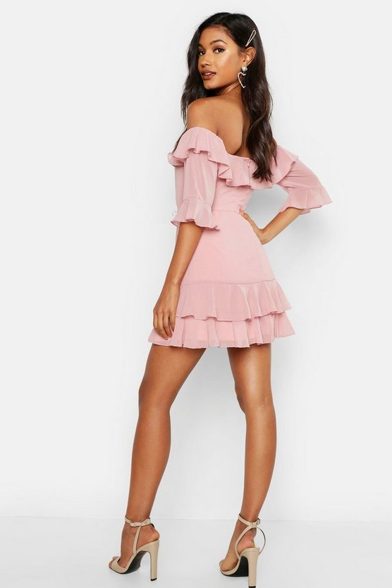 Chiffon Ruffle Off The Shoulder Mini Dress