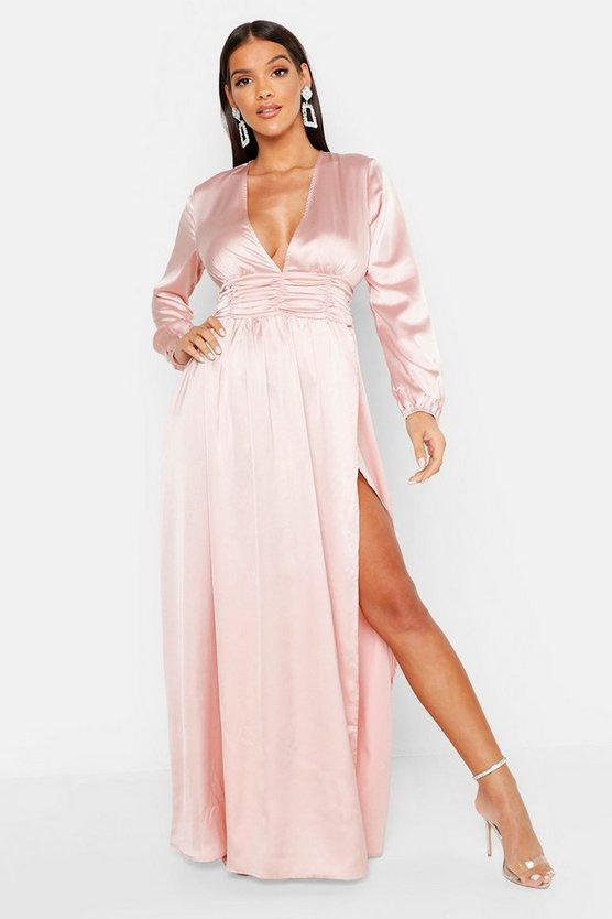 Womens Nude Satin Long Sleeve Split Detail Maxi Dress