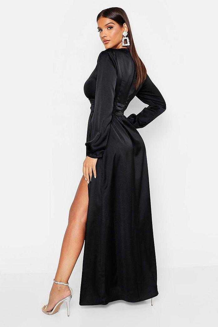 636ee875158 ... Satin Long Sleeve Split Detail Maxi Dress ...