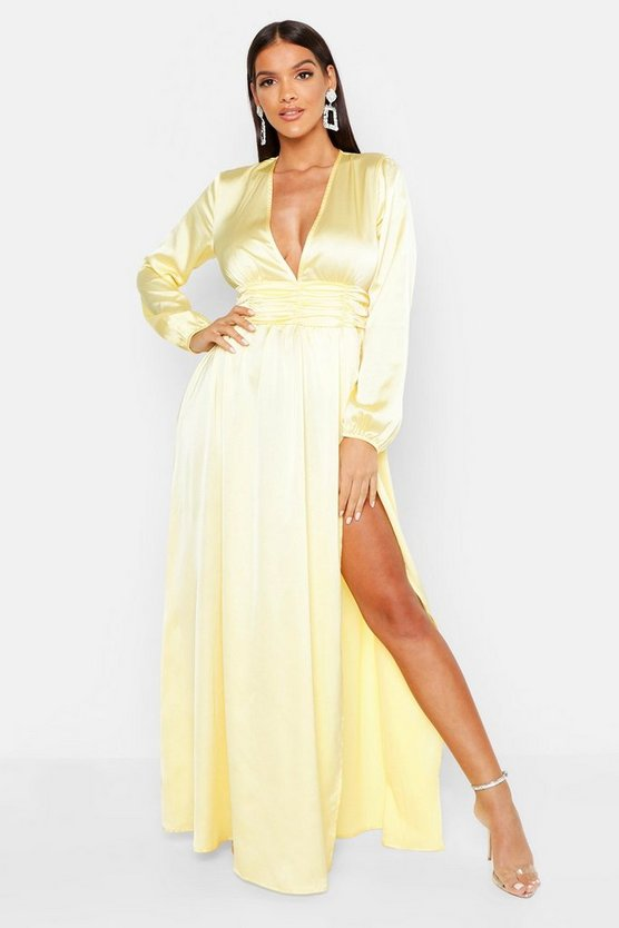 Womens Yellow Satin Long Sleeve Split Detail Maxi Dress
