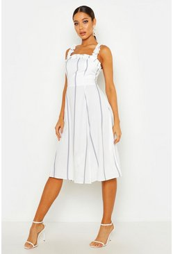 Womens Grey Stripe Ruffle Strap Midi Skater Dress