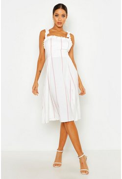 Womens Pink Stripe Ruffle Strap Midi Skater Dress