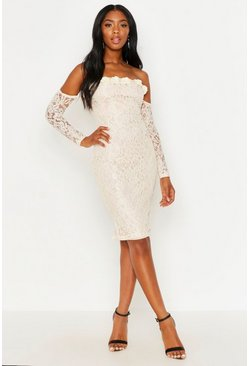 Womens Cream Lace Applique Off The Shoulder Midi Dress