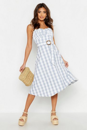 Womens Blue Gingham Belted Midi Skater Dress