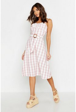 Womens Blush Gingham Belted Midi Skater Dress
