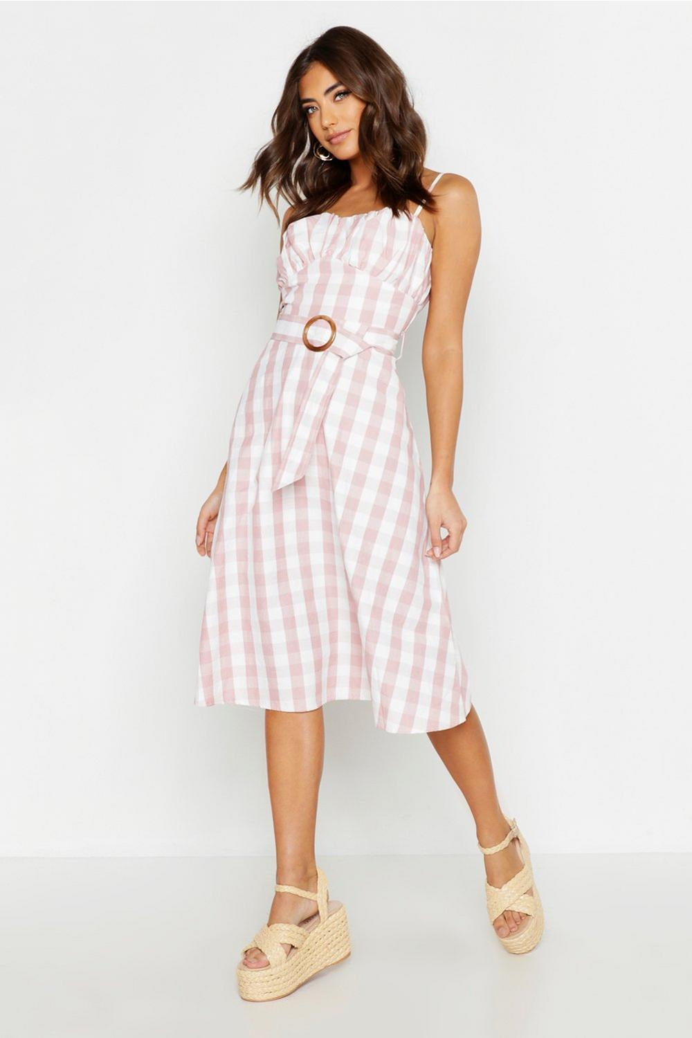 Gingham Belted Midi Skater Dress by Boohoo