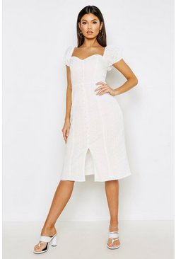 Womens Ivory Broderie Anglais Puff Sleeve Button Midi Dress