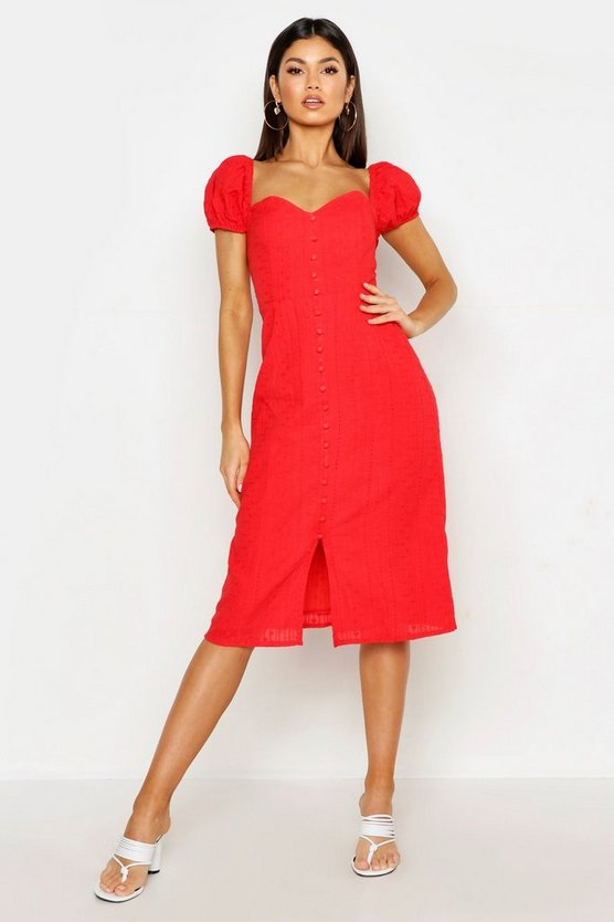Womens Red Broderie Anglais Puff Sleeve Button Midi Dress