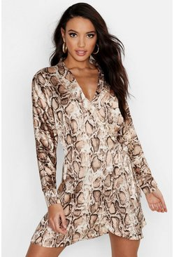 Womens Nude Satin Snake Print Wrap Dress