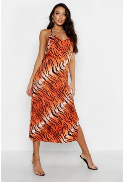 Womens Orange Tiger Print Cowl Back Slip Dress