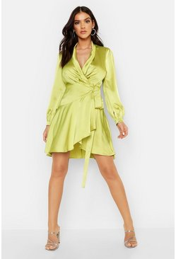 Womens Chartreuse Satin Wrap Detail Skater Dress