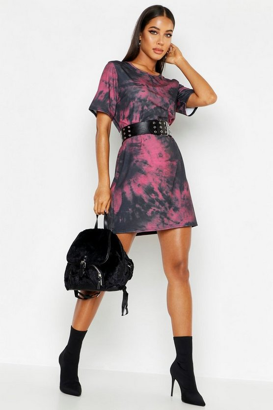 Womens Plum Tie Dye Oversized T-Shirt Dress