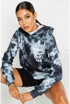 Womens Black Tie Dye Slogan Oversized Hoody