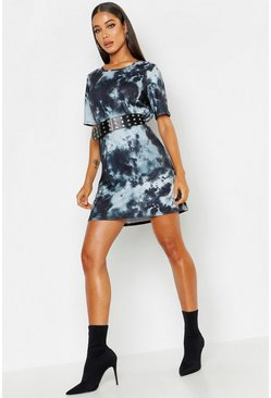 Womens Black Tie Dye Oversized T-Shirt Dress