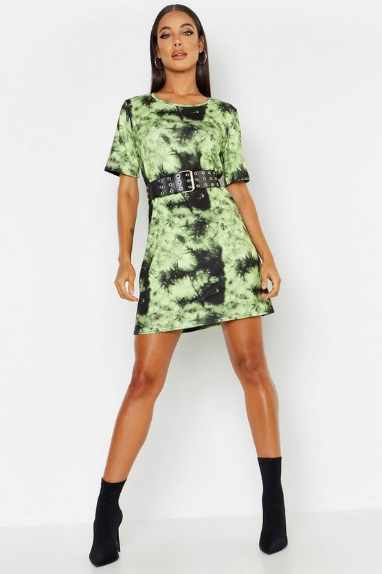 Womens Lime Tie Dye Oversized T-Shirt Dress