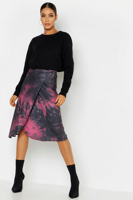 Womens Plum Tie Dye Wrap Midi Skirt