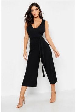 Black Jumbo Ribbed Culotte Lounge Jumpsuit