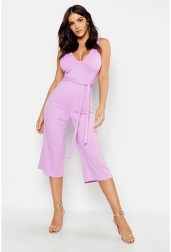 Womens Lilac Jumbo Ribbed Culotte Lounge Jumpsuit