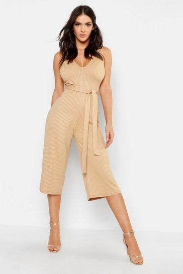 Womens Tan Jumbo Ribbed Culotte Lounge Jumpsuit
