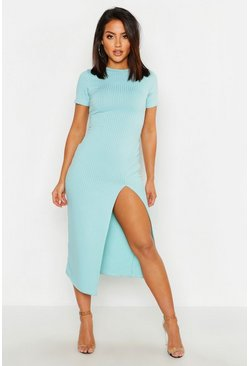 Womens Baby blue Jumbo Rib Split Side Midi Dress