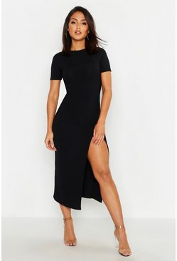Black Jumbo Rib Split Side Midi Dress