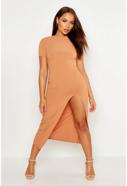 Camel Jumbo Rib Split Side Midi Dress