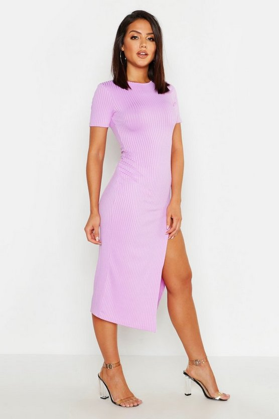 Womens Lilac Jumbo Rib Split Side Midi Dress