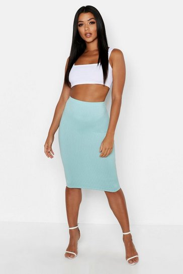 Womens Baby blue Jumbo Rib Midi Skirt