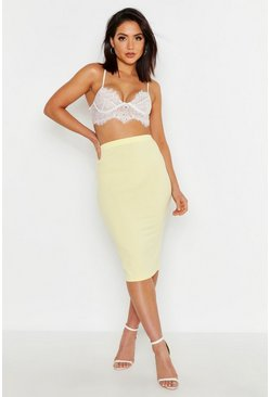 Womens Lemon Jumbo Rib Midi Skirt