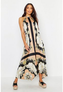 Womens Black Luxe Scarf Print Hanky Hem Maxi Dress
