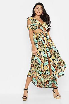 Palm Print Knot Front Maxi Dress