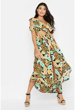 Womens Black Palm Print Knot Front Maxi Dress