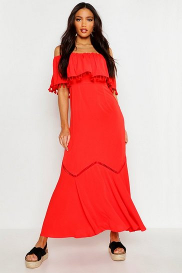 Red Off The Shoulder Tassel Maxi Dress