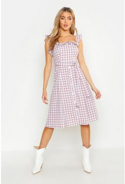 Womens Peach Off The Shoulder Gingham Skater Dress