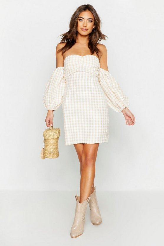 Sand Gingham Sweetheart Off The Shoulder Mini Dress