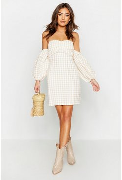 Womens Sand Gingham Sweetheart Off The Shoulder Mini Dress