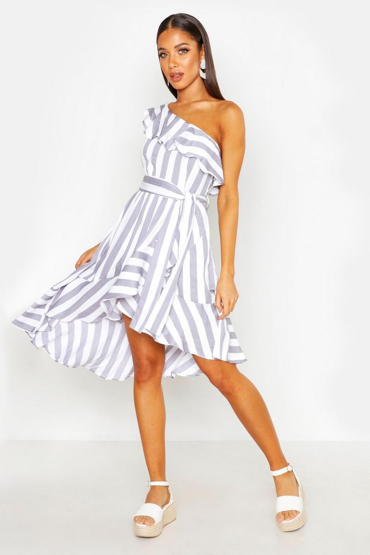 4d03a57dc Womens Grey Textured Stripe Ruffle Hem Midi Dress. Hover to zoom