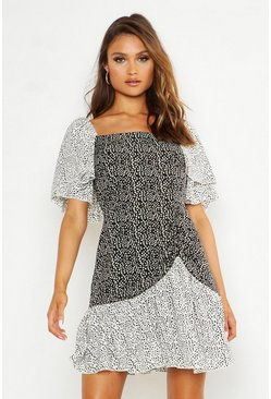 Womens Black Contrast Polka Dot Skater Dress