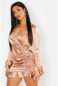 Womens Sand Rouched Front Flared Sleeve Wrap Dress