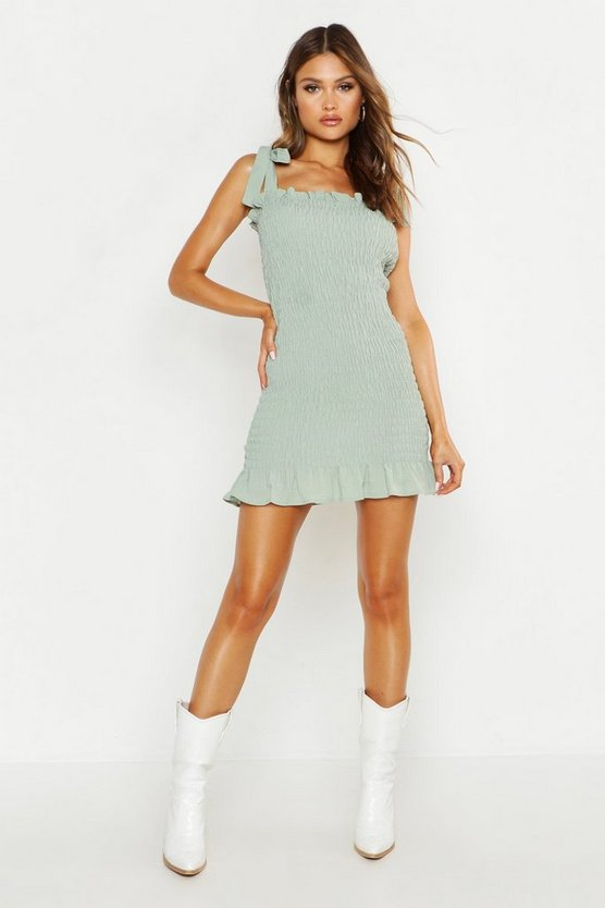 Womens Sage Tie Shoulder Shirred Crinkle Fabric Mini Dress