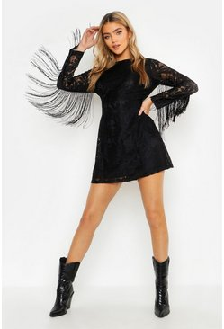 Womens Black Tassel Sleeve Lace Shift Dress
