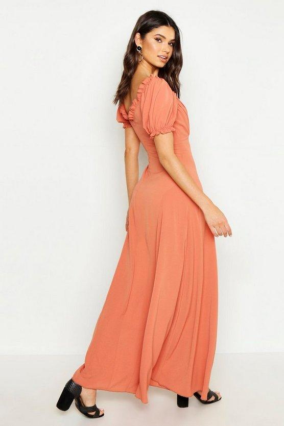 Sweetheart Puff Sleeve Maxi Dress