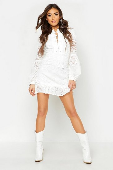 Womens Ivory Lace Up Front Balloon Sleeve Mini Dress