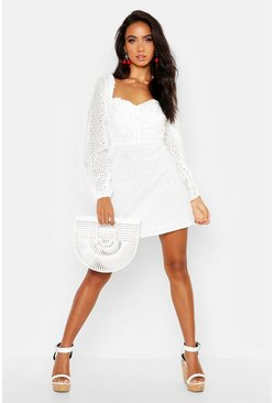 Ivory Broderie Anglais Sweetheart Mini Dress