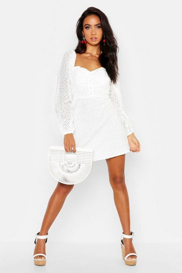 Womens Ivory Broderie Anglais Sweetheart Mini Dress