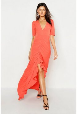 Womens Tangerine Rouched Front Open Back Maxi Dress