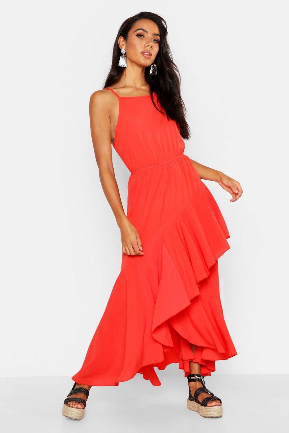 ee80d79b041 Womens Coral Layered Asymmetric Hem Maxi Dress