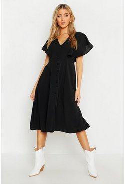Womens Black Button Through Flared Sleeve Midi Dress