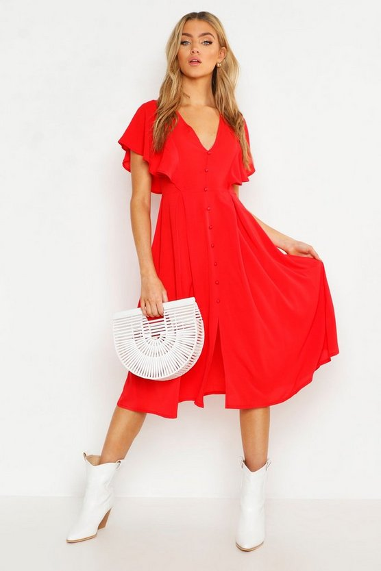 Red Button Through Flared Sleeve Midi Dress